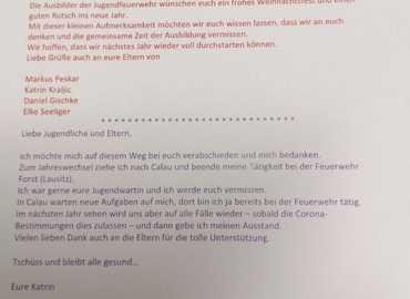 Brief der Jugendwarte an die Jugendlichen zum Jahresabschluss 2020