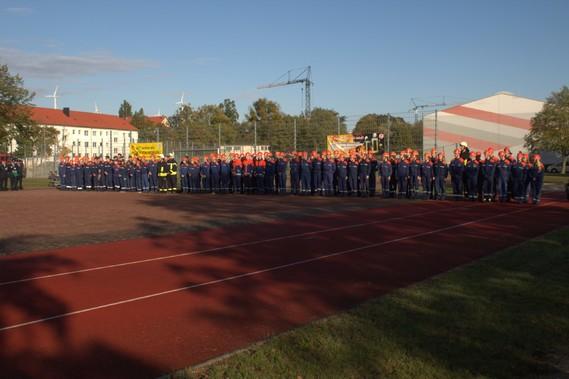 Eröffnung der Abnahme auf dem Turnhallengelände in Schipkau