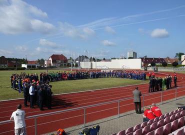 Eröffnung der Kreismeisterschaften in den Pokaldisziplinen auf dem Sportplatz Guben Obersprucke.