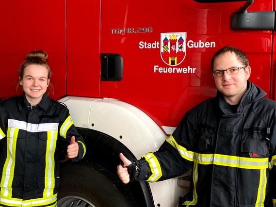 Amtseinführung der stellv. Stadtjugendfeuerwehrwartin Lea Prüfer mit Stadtjugendfeuerwehrwart Guben Nico Hammel