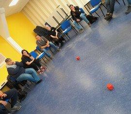 Gruppenspiele während des JuLeiCa Seminares im Katastrophenschutzzentrums Spree-Neiße